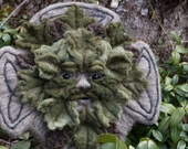 RESERVED Needle Felted One of a kind Gargoyle or Green Man Celtic Cross Soft Sculpture by Bella McBride Greenman or Hunky Punk