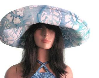 Blue Green Floral Batik Wide Brim Sunhat