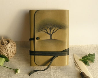 leather journal, olive leather journal with vintage style old paper, custom personalized quote - Mysterious Tree