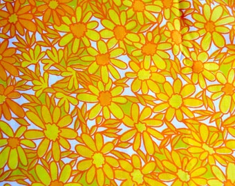 Vintage Pillowcase - Orange and Yellow Daisies - King Size