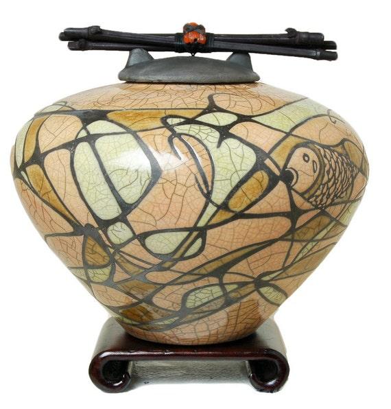 Raku Ceramic Decor Urn Standard Persimmon Fish Dc Series