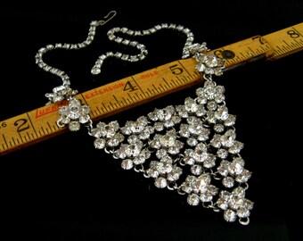 Vintage 1950s Clear Rhinestone Flower Bib Necklace   Wedding Bridal   50s Jewelry
