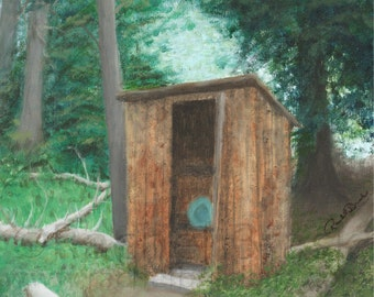 Rugged Outhouse, Limited Edition Giclee Print 8x10 Matted to 11x14