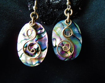 Vintage Abalone Sterling Silver Earrings Beach Dangles Boho Hippie Coachella Day Gift 70s Retro Art Deco Runway Statement