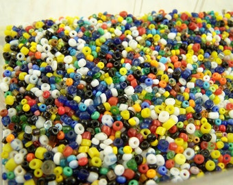 Beading Supplies Tray of Assorted Vintage Seed Beads Mixed Colors