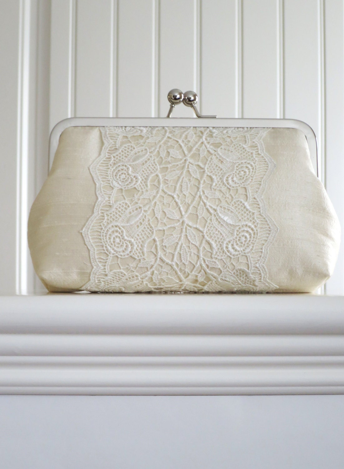 Silk And Rose Lace Clutch,Bridal Accessories,Cream Clutch,Wedding Clutch,Bridesmaid Clutch