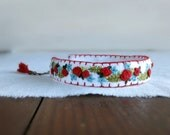 Boho Hand Embroidered Bracelet - Folk Style Bracelet With Red and Teal Flowers on White Linen