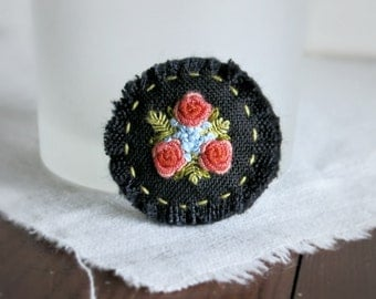 Dusty Orange Textile Art Brooch - Dusty Orange Roses on Black Linen Textile Art Brooch