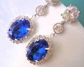 SAPPHIRE Bridal Earrings , Bridal Drop Earrings , CZ Earrings , Cubic Zirconia, Wedding Earrings, Oval, Halo, Rhinestone, Bridal Jewelry