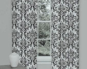 One curtain panel unlined turquoise blue and white premier - Rideaux design noir et blanc ...