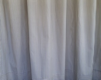 Pair (two 50W panels) classic ticking curtains drapes, two way stripe, blue ivory