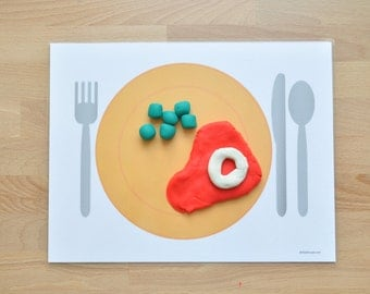 Dinner Play Dough Mats - Set of 4 Laminated Play Dough Pads