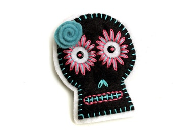Black Sugar Skull Patch, hand embroidered on felt, teal and pink embroidery, wool felt sugar skull applique