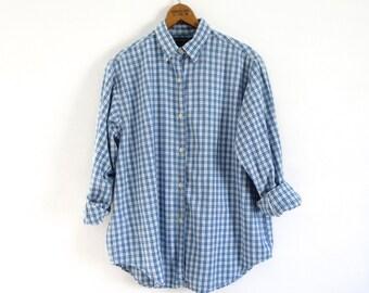 Vintage blue plaid shirt Plaid cotton shirt plaid Abercrombie & Fitch shirt Boyfriend plaid shirt Womens size small Abercrombie shirt U.S.A.