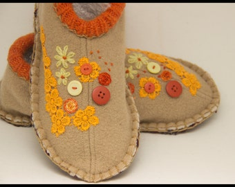 womens wool upcycled slippers beige with buttons lace and embroidery