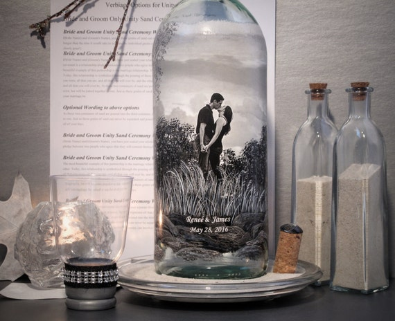 Unity Sand Ceremony Bottle, Hand Painted Bottle With Your Photo, Personalized Wedding Ceremony Decor, Engagement Gift, Reception Centerpiece