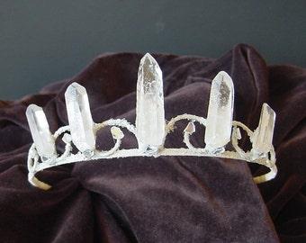 Quartz Crystal Fairy Crown Tiara for Festival, Boho Wedding, Prom, Special Occasion