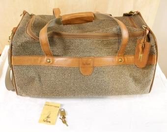 Vintage Hartmann Tweed Duffel Bag Luggage with lock and keys