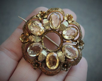 Huge Georgian Citrine Paste Brooch