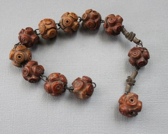 Large 19th Century Carved Rosary Beads / Antique Supplies / Rosary Bracelet
