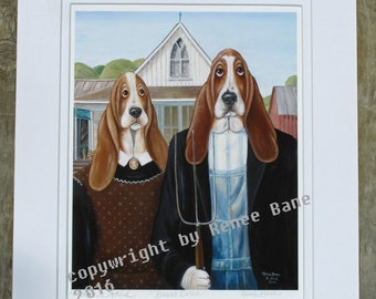 Basset Gothic - Professional Giclee Print with Matt of a Renee Bane Original on Fine Art Paper - 11 x 14