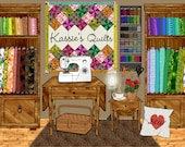 sewing room decor, sewing machine art, quilter quilt quilting, housewarming gift, fabric lovers, personalized craft room, crafter gift print