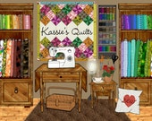 personalized craft room, sewing room decor, sewing machine art, quilter quilt quilting, custom art print, housewarming gift, fabric lovers