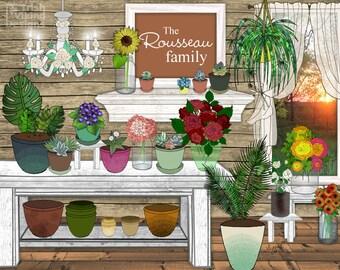 personalized garden, botanical print, gardener gift, flower shop art, custom garden art, floral kitchen,bathroom,wedding shower,housewarming