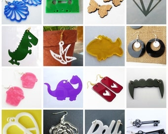 Laser Cut Beads, Laser Cut Necklace, Laser Cut Pendants, Earrings, Acrylic, Charm, Plastic, Bulk Jewelry Supplies, Wholesale, Destash, DIY