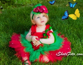 Strawberry Tutu Outfit, Red Green, Petti Top Couture Over the Top Headband Set beads First Birthday Outfit Photo Prop fabric flowers chiffon