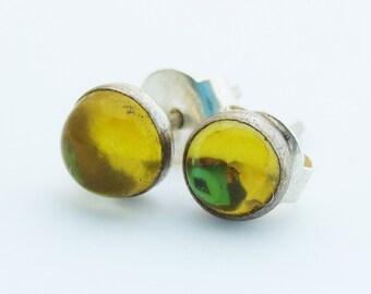 Genuine Citrine Gemstone Sterling Silver 5mm Stud Earrings