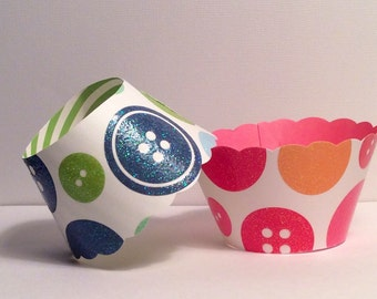 Cute As a Button Cupcake Wrappers SALE