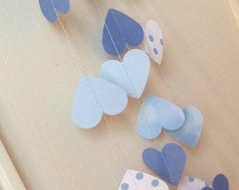 Blue Heart Garland Shades of Blue Wedding Garland Baby Shower Home Decor