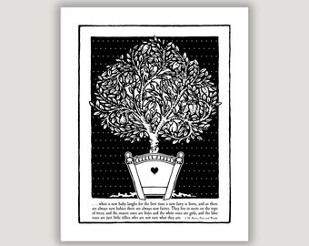 Peter Pan Quote, Fairies Quote Print, nursery wall art, black white nursery, library art, literature quote print, JM Barrie, Peter and Wendy