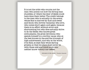 The Man In The Arena, Roosevelt quote, gift for him, graduation gift, inspirational quote, famous speech, office art, wall art, quote print