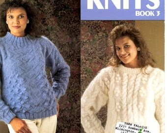 Bulky Knits Adult Women Size Warm Winter Sweaters Cables Bobbles Long Sleeves Turtleneck Pullover Craft Pattern Leisure Arts Leaflet 666