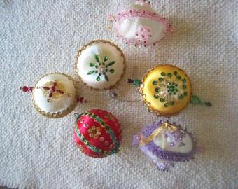 Lot of 6 Handmade Beaded Satin Ball Christmas Ornaments