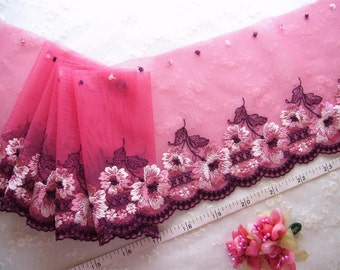 Lace trim, Embroidered lace, Tulle lace, Red lace, Girls' lace, Net lace, Floral lace, 7 yards  RD115