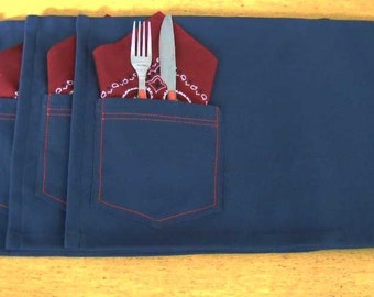 Placemats Blue Jean Set of 4 With Bandanna Fabric Napkins