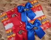 Firefighter Yellow Gray Satin Red Lace Maltese Charm Wedding Bridal Garter Toss Set