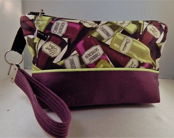 Purple Lime Wine Taster Winery Wine Bottle charm Ready to Ship Wristlet Makeup Cosmetic Organizer Bag