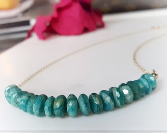 Amazonite Bib Necklace, Gift for Her, Blue Green Gemstone Choker Necklace, Sky Blue Beaded Collar Necklace