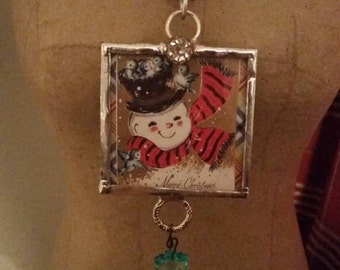 Snowman soldered pendant