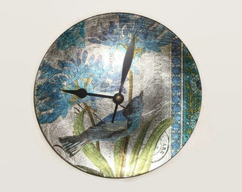 French Vintage Inspired Bird Wall Clock - Blue Turquoise Green Floral Wall Clock - Plate Clock - Kitchen Clock - Unique Wall Clock - 1728