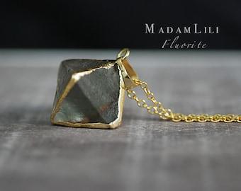 Aura Fluorite Pendulum Necklace