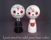 Semi Custom Day of the Dead Día de Muertos Cake Topper Kokeshi Dolls