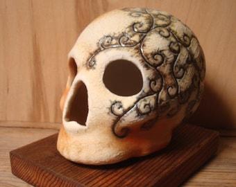 Spirals Blush Wood Fired Skull