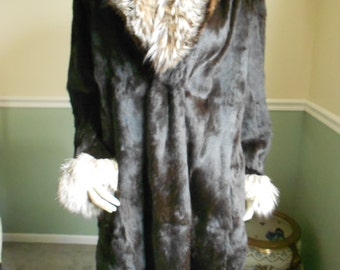 Mink Full Length Coat with Fox Collar