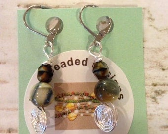 Picasso Agate Spiral Dangle Earrings
