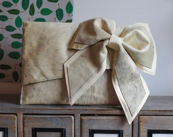 Cream Hairy leather clutch bag, hair on leather statement bag, ivory bag, modern bride,beautiful bow bag